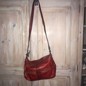 Tignanello Red Leather CrossBody Purse Handbag